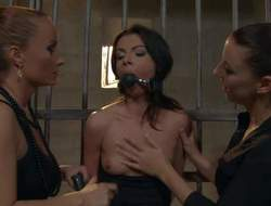 Slutty brunette hottie in short school petticoat Betty Stylle gets herself in really large trouble, cause she gets locker up, tied up and mouth gagged by two dominant lesbians