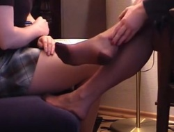 Juvenile sniff mature Lady nylon feet 1