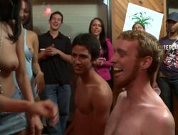 Asa Akira has proved to be a concupiscent Asian hottie, but now she gets 2 buddies along to show their skills at a dorm!