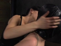 Clamped up playgirl is receiving lusty facial torment
