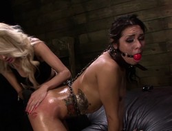 Restrained lesbo slave