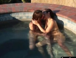 Ellena Woods and Nina North having lesbian sex in the swimming pool